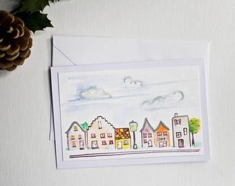Greeting card with houses