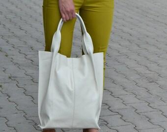 Off WHITE LEATHER TOTE Bag - Large Tote Bag - Italian Leather Handbag