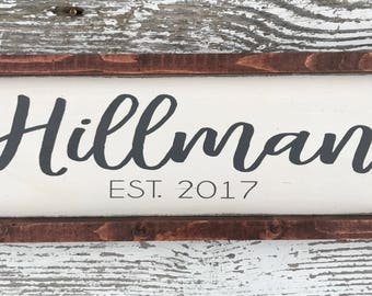 Personalized hand painted wood sign - last name sign - established date - farmhouse style - rustic wood sign - wedding gift - wedding decor