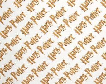 Harry Potter  Fabric / Hogwarts / Logo on White  Digitally Printed Yardage / Camelot 2380217J / Fabric By The Yard & Fat Quarters