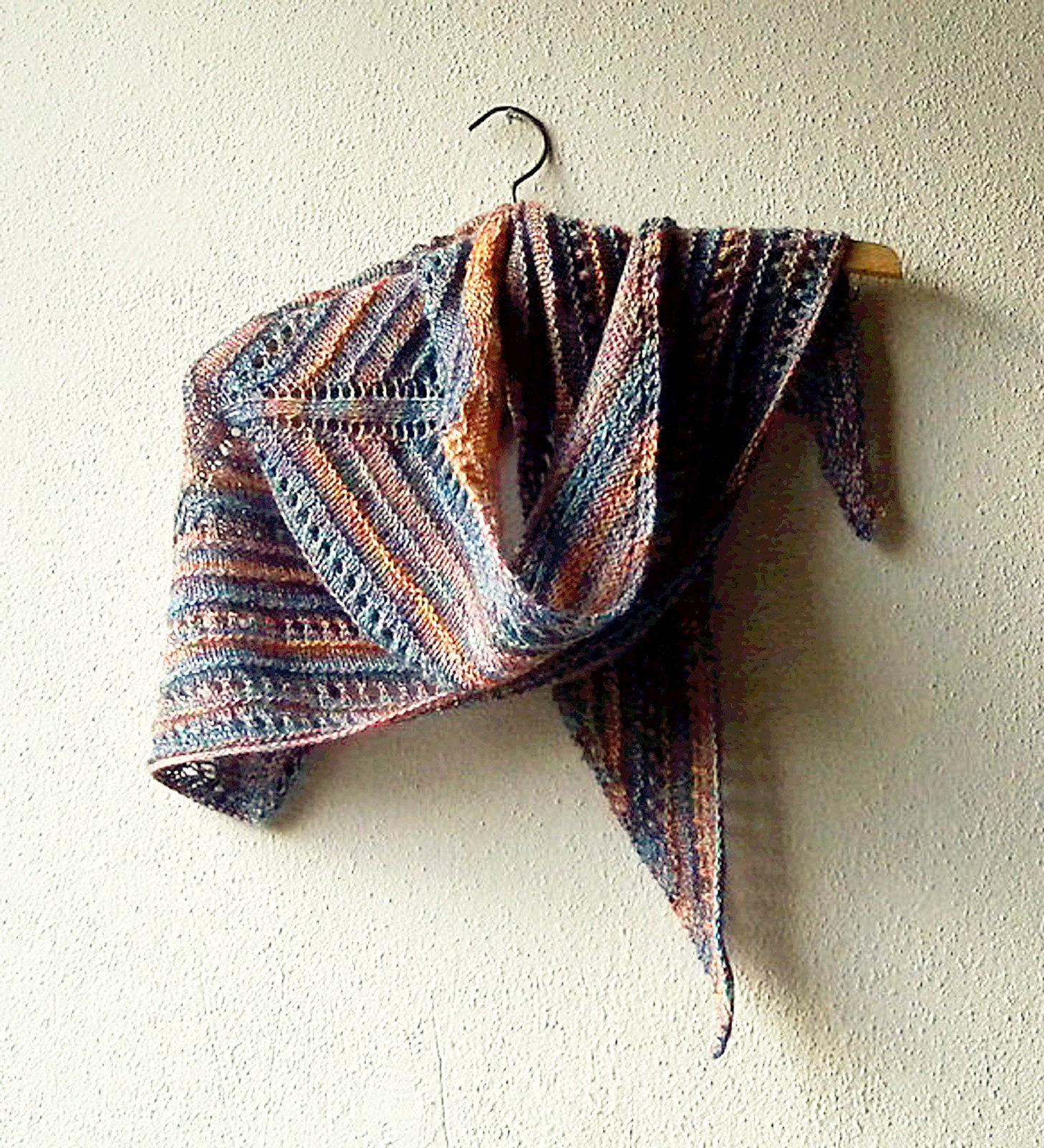 Triangle Shawl Knitting Pattern using one ball of fingering weight ...
