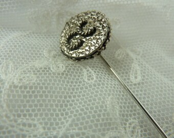 Lapel Pin, Handmade with Silver tone French Vintage Button