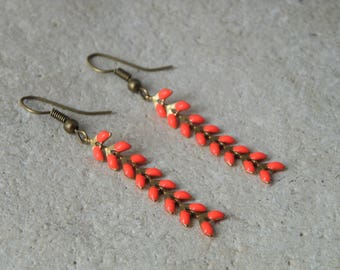 Earrings chains enamel ears coral 1