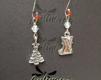 Crystal and silver Earrings-Christmas theme-holiday gift Idea and holidays