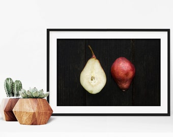 red pear v. two // food photography print // kitchen decor // dining room // minimalist art print // rustic farmhouse wall art