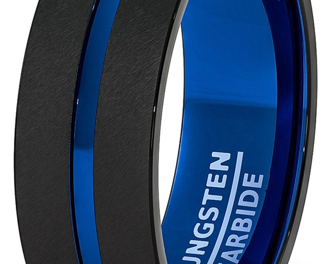 8mm Black Two Tone Blue Inlay Tungsten Ring Groove Matted Brushed Flat Edge - Comfort fit