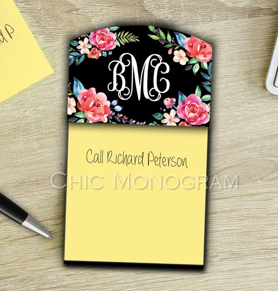 Promotion Gifts for Coworkers Personalized Sticky Note Holder Office Accessories Decor Monogrammed Classy Black Floral Gifts for Employees