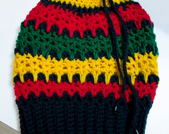 Rasta Dread Tube Hat – Crochet Pattern - Dreadlock Hat - Rasta Tam - Adjustable Rasta Crochet Hat - Slouchy Rasta - Bob Marley Hat - PDF