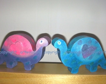 Dinosaurs - wooden dinosaurs set of 2, pink and blue