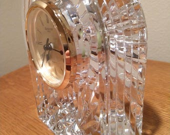 """6 -1/4"""" Vintage Waterford Crystal Clock, Waterford Mantel Clock- 6.5"""", Arched Silhouette - Made in Ireland"""