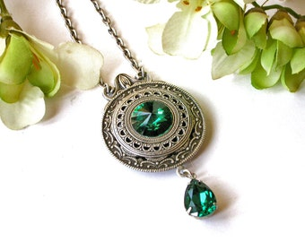 Emerald Swarovski Crystal Necklace  - Victorian Silver Pendant - Victorian Gothic Jewelry