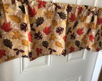 Fall Autumn Tan brown rust green  leaves Curtain Valance