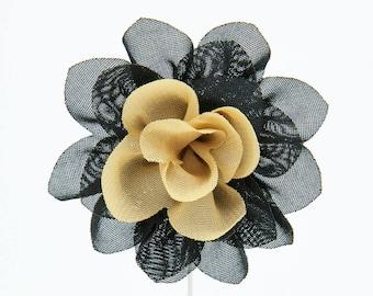 Christina Black/Gold Flower Lapel Pin