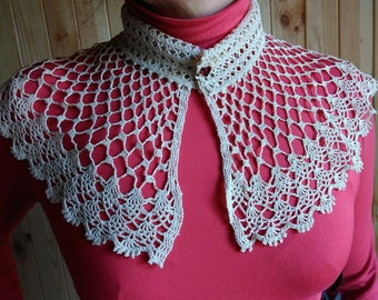 "Detachable Crochet Collar ""Luxury"", Luxury Handmade Collar, Neck Accessory, 100% Cotton"