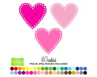 SALE Heart Digital Clipart - Rainbow Heart Clipart - Heart Clipart - Valentine Heart Graphics - Personal and Commercial Use