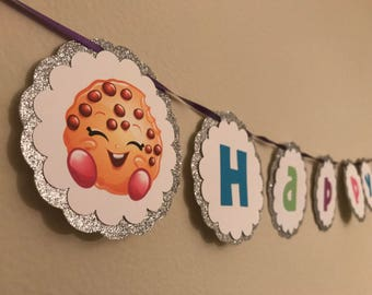 Shopkins Birthday Banner- HAPPY BIRTHDAY Custom