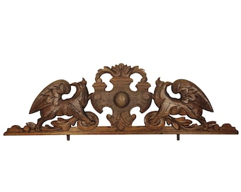 Antique wood pediment Architecture salvage Carved Wood pediment Furniture salvage Antique fragment Antique decor Architectural piece