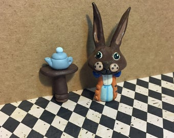 OOAK Alice In Wonderland Lewis Carroll Inspired March Hare - Mini Pop Culture 'Shroom - Handpainted Polymer Clay Sculpture