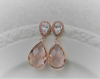 Rose Gold and Champagne Bridal Earrings, Bridesmaid Earrings, Wedding Jewelry, Bridesmaid Jewelry, Dangle Earrings, Rose Gold Jewelry