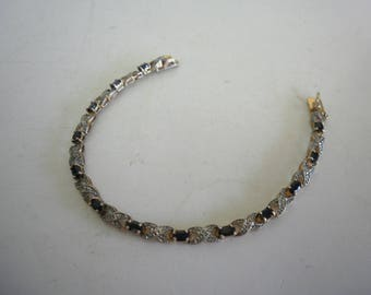 Vintage Silver Gold Washed Bracelet with Sapphire 925 Silver Bracelet