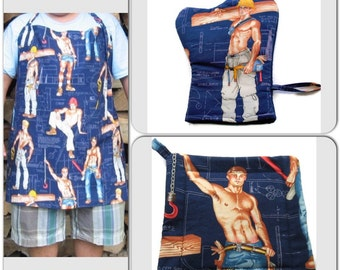 Unisex BBQ  Set of 3 Apron  Potholder and Oven Mitt Chef Apron Alexander Henry Construction Workers