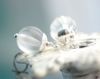 Pure White Vintage Lucite Earrings,  Alabaster White and Sterling Silver - simplify