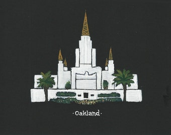 Oakland LDS Temple acrylic painting 5x7