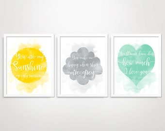 You Are My Sunshine Wall Art, Nursery Prints, Sunshine Nursery Wall Art, Baby Shower Gift for Baby Boy Girl, Nursery Decor, Baby Room Decor