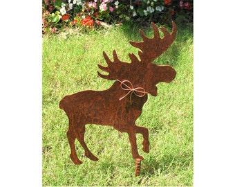 Moose Metal Garden Stake - Metal Yard Art - Metal Garden Art - Rustic - Rusty
