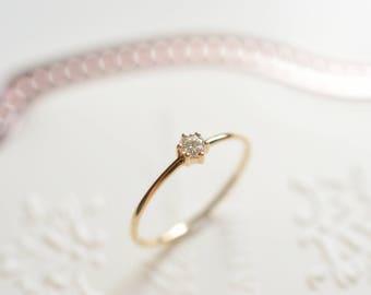 Rose Gold Engagement Ring 14K Rose Gold Diamond Engagement Ring 18K White Gold  Promise Ring Simple Solitaire Ring Wedding Ring