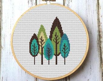 Retro trees Cross Stitch Pattern PDF Instant Download  Modern cross stitch pattern Needlecraft Modern trees Counted cross stitch  X072