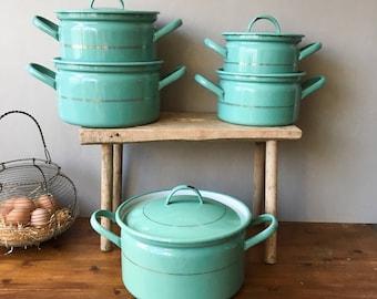 Exceptionnel Reserved N Vintage Turquoise Enamel Pots Set, Dutch Enamelwear, RARE   30u0027s  Antique Shabby