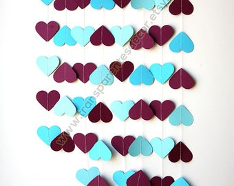 Wedding Garland, Engagement party, Bridal Shower, Mothers Day, Baby Shower, Birthday Party, Plum Blue garland, Paper Heart Garland, KCO-3058