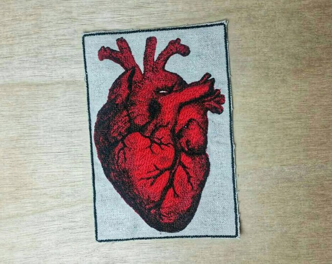 Large Embroidered Vintage Graphic Heart Upcycled Canvas Iron On Jacket Patch