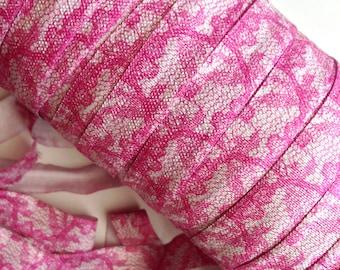 "5/8"" Pink Lace Print  Fold Over Elastic, FOE"
