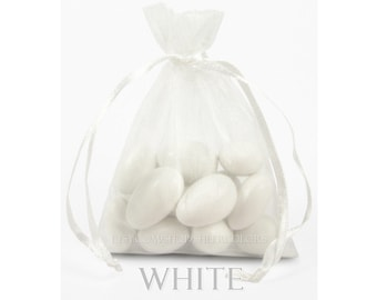 10 White Organza Bags, 8 x12 Inch Sheer Fabric Favor Bags