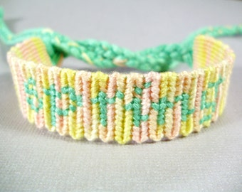 Spring Friendship Bracelet - Knotted Bracelet in Pale Green and Variegated Pink and Yellow