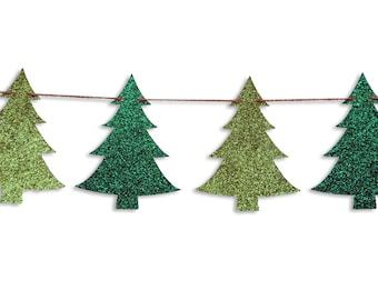 Christmas tree garland, Christmas tree Banner, Holiday Banner, Christmas decoration, Christmas Glitter Garland