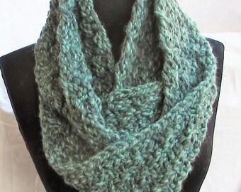 Cowl, seafoam green, basketweave pattern, handmade, handknit, Accessories,