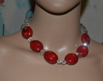 Vintage Red Coral and Clear Crystal Choker Statement Necklace