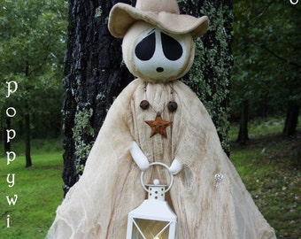 """OOAK Primitive HALLOWEEN Folk Art Tattered Witch Ghost Doll with Lantern and Timer Tea Light - 50"""" Long * POPPYWISE *"""