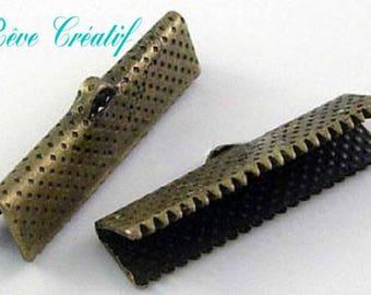 20pcs Iron Ribbon Ends, Antique Bronze, 35x8x5mm, Hole: 1mm