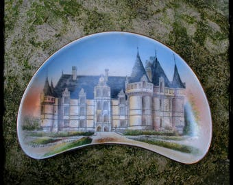 Limoges porcelain handpainted, vintage French porcelain, French chateau, Gothic chateau
