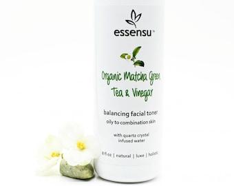 Organic Green Tea and Vinegar Oily to Combination Skin Balancing Facial Toner | All Natural | Tones Skin | Non-Drying | Vegan No Gluten 8 oz