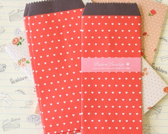 Red Hearts Sweet Pattern Tall Envelopes