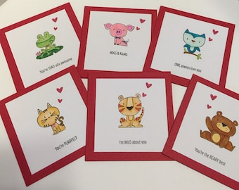 """Valentines cards set of 6 with Envelopes 3""""x3"""""""
