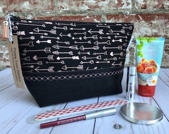 Cosmetic Pouch / Zipper Pouch/Rose Gold Arrows bag