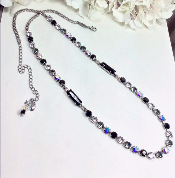 "Swarovski Crystal Necklace -Extra Long ""Classy"" Necklace - Elegant, Sumptuous Accent !  32""+ of Swarovski Sparkle! - FREE SHIPPING"