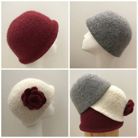 Felted Beanie Hat Pattern Three Styles and Flower