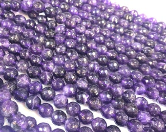 Natural 8mm faceted Amethyst round FULL STRAND